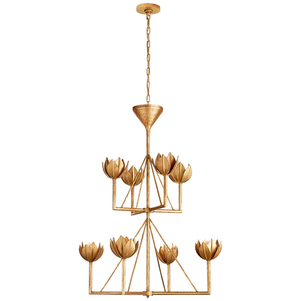 Visual Comfort JN 5005AGL Julie Neill Alberto Medium Two Tier Chandelier in Antique Gold Leaf