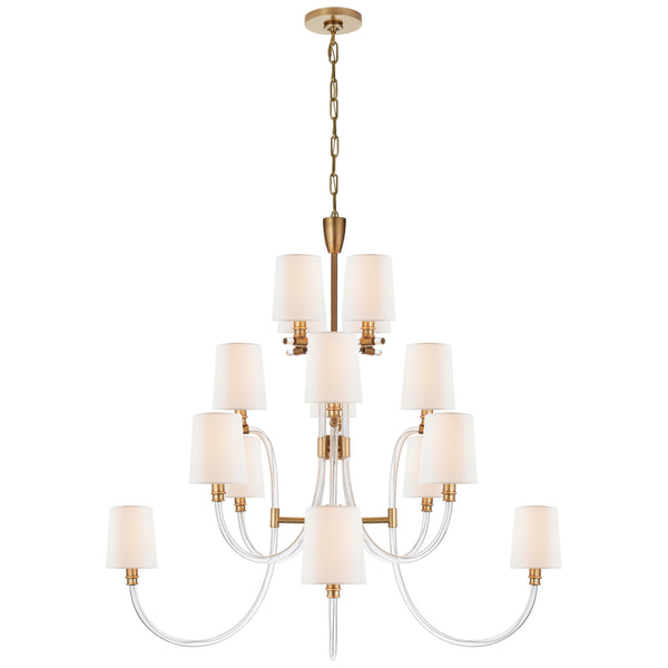 Visual Comfort JN 5030CG/AB-L Julie Neill Clarice Large Chandelier in Clear Acrylic with Antique Brass