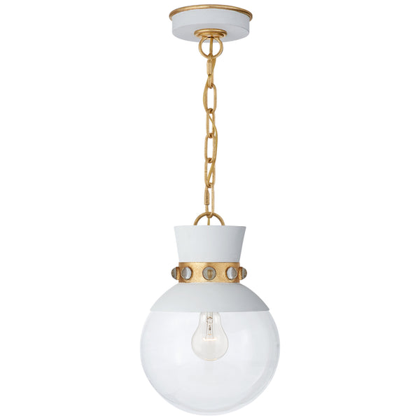 Visual Comfort JN 5050WHT/G-CG Julie Neill Lucia Small Pendant in White and Gild