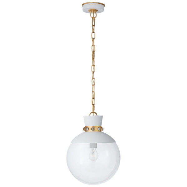 Visual Comfort JN 5051WHT/G-CG Julie Neill Lucia Medium Pendant in White with Gild