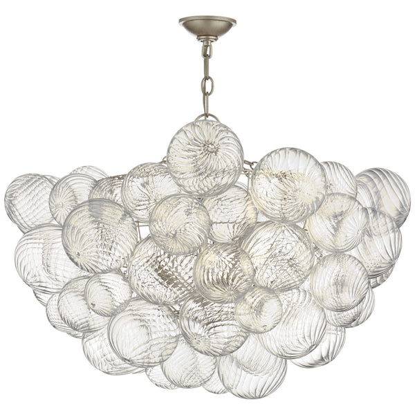 Visual Comfort JN 5112BSL/CG Julie Neill Talia Large Chandelier in Burnished Silver Leaf and Clear Swirled Glass