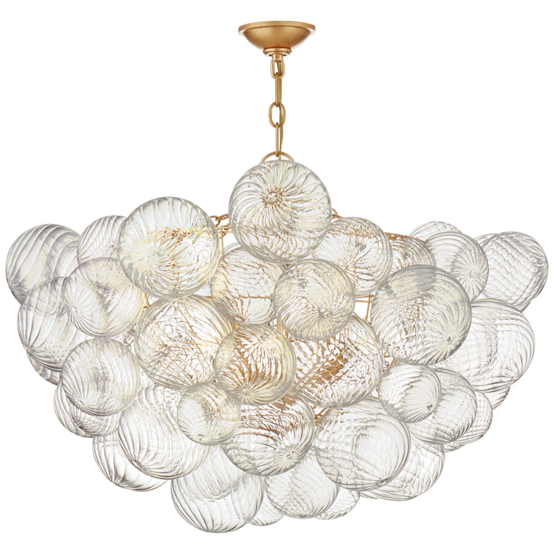 Visual Comfort JN 5112G/CG Julie Neill Talia Large Chandelier in Gild and Clear Swirled Glass