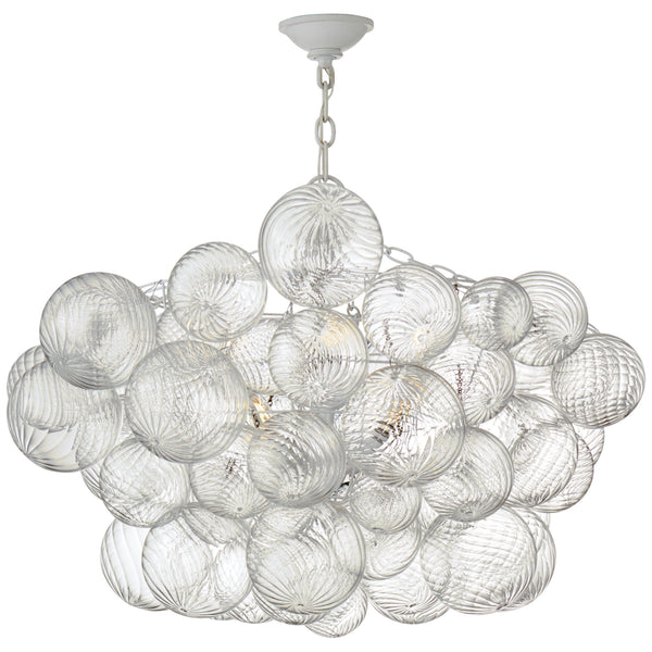 Visual Comfort JN 5112PW/CG Julie Neill Talia Large Chandelier in Plaster White and Clear Swirled Glass