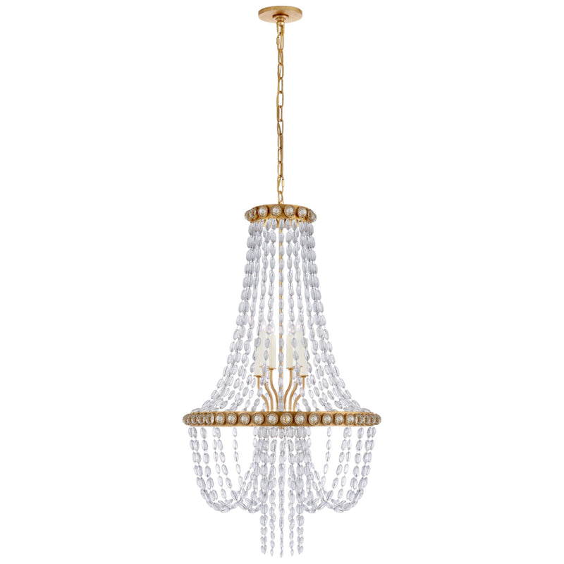 Visual Comfort JN 5120G-CG Julie Neill Navona Medium Basket Chandelier in Gild