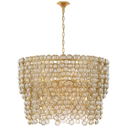 Visual Comfort JN 5232G/CG Julie Neill Milazzo Large Waterfall Chandelier in Gild and Crystal