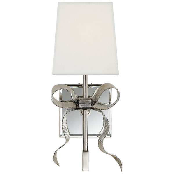 Visual Comfort KS 2008PN-L kate spade new york Ellery Gros-Grain Bow Small Sconce in Polished Nickel