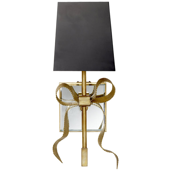 Visual Comfort KS 2008SB-B Kate Spade New York Casual Ellery Gros-Grain Bow Small Sconce in Soft Brass with Matte Black Shade