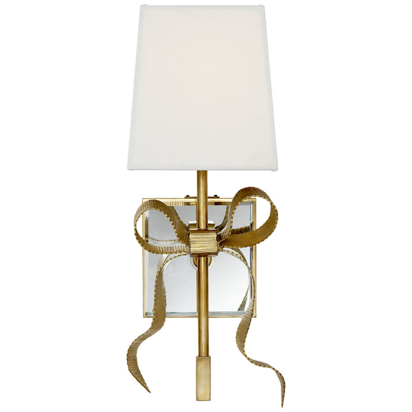 Visual Comfort KS 2008SB-L Kate Spade New York Casual Ellery Gros-Grain Bow Small Sconce in Soft Brass with Cream Linen Shade