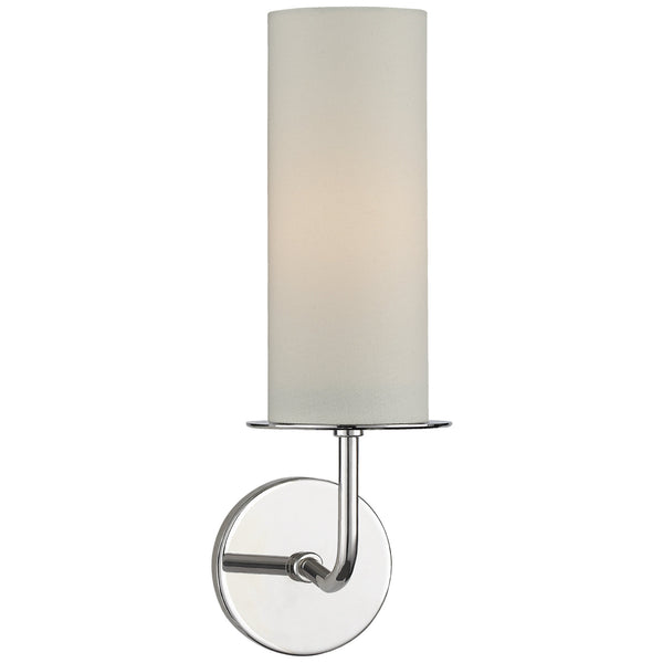 Visual Comfort KS 2035PN-L Kate Spade New York Modern Larabee Single Sconce in Polished Nickel with Cream Linen Shade