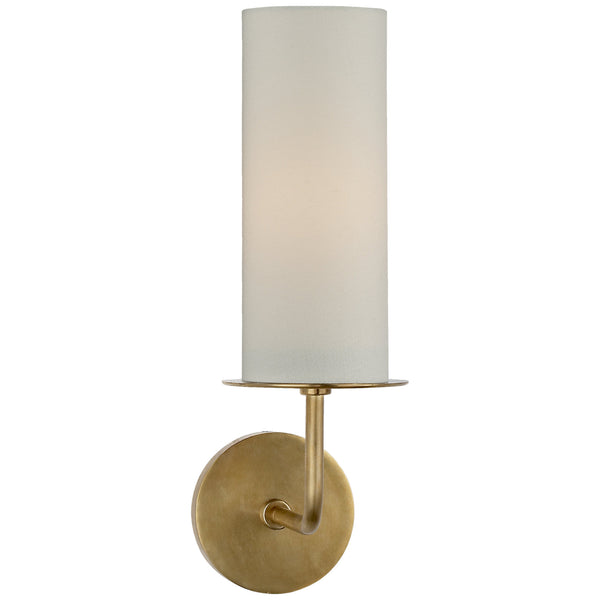 Visual Comfort KS 2035SB-L Kate Spade New York Modern Larabee Single Sconce in Soft Brass with Cream Linen Shade