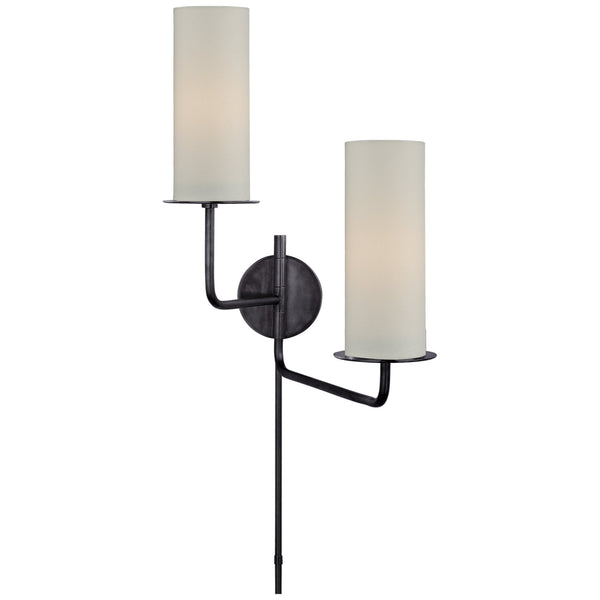 Visual Comfort KS 2036GM-L Kate Spade New York Modern Larabee Double Swing Arm Sconce in Gun Metal with Cream Linen Shades