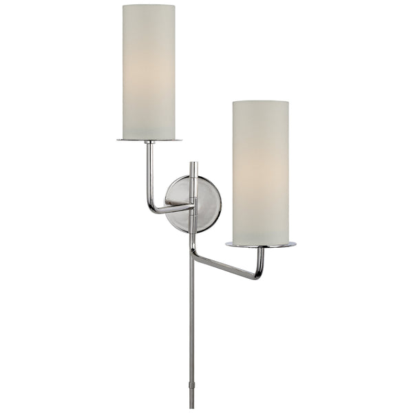 Visual Comfort KS 2036PN-L Kate Spade New York Modern Larabee Double Swing Arm Sconce in Polished Nickel with Cream Linen Shades