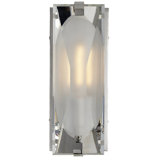 Visual Comfort KS 2060PN-CG Kate Spade New York Modern Castle Peak Small Bath Sconce in Polished Nickel with Etched Clear Glass