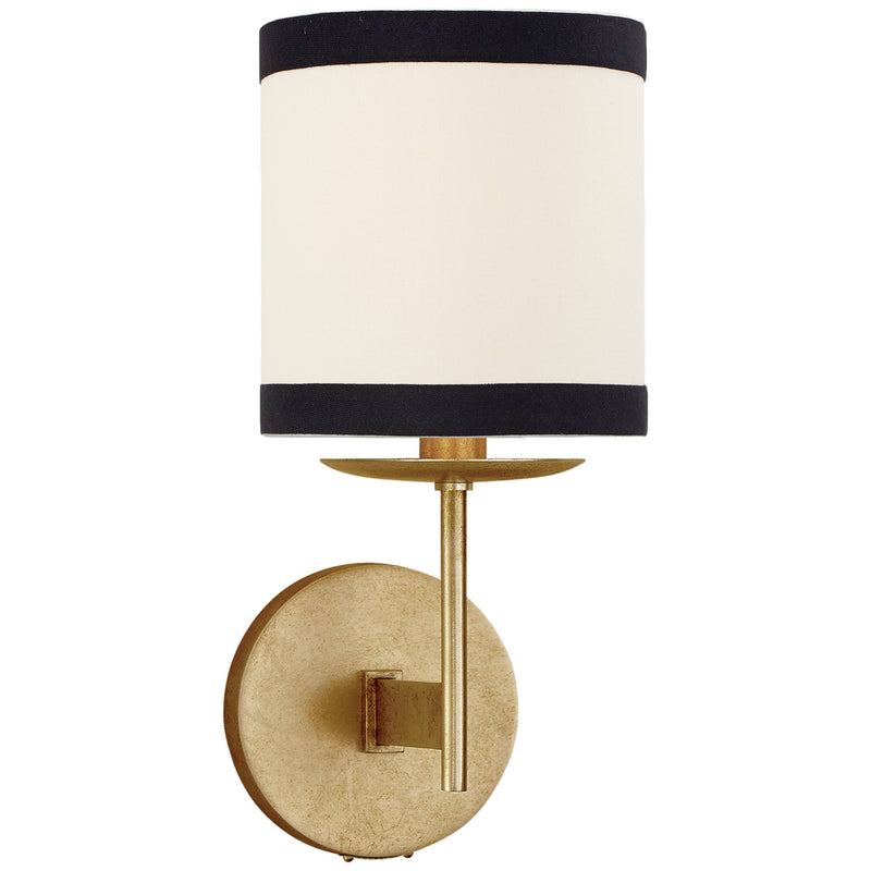 Visual Comfort KS 2070G-L/BL Kate Spade New York Modern Walker Small Sconce in Gild with Cream Linen Shade with Black Linen Trim