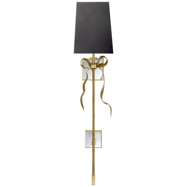 Visual Comfort KS 2117SB-B Kate Spade New York Casual Ellery Gros-Grain Bow Tail Sconce in Soft Brass and Mirror with Matte Black Shade