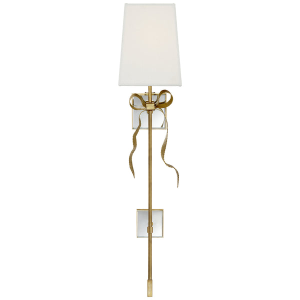 Visual Comfort KS 2117SB-L Kate Spade New York Casual Ellery Gros-Grain Bow Tail Sconce in Soft Brass and Mirror with Cream Linen Shade