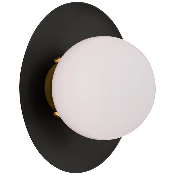 Visual Comfort KS 2550BLK/G-WG Kate Spade New York Modern Boswell Small Sconce in Matte Black and Gild with White Glass