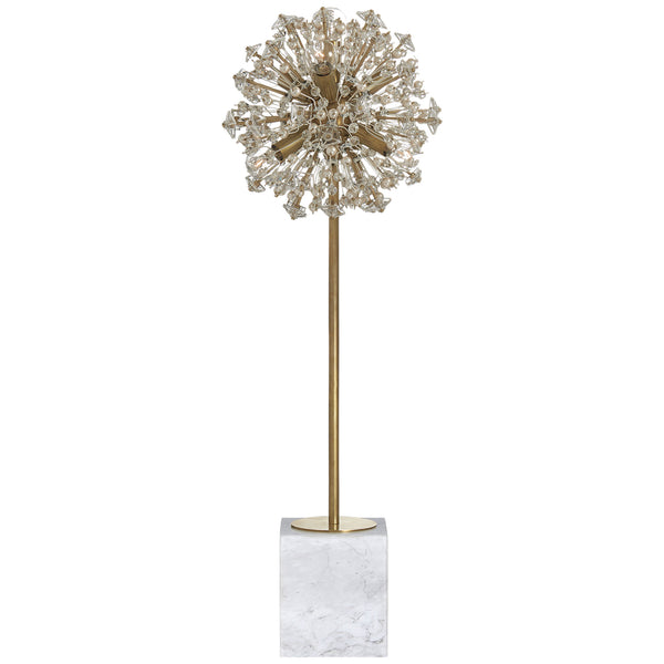 Visual Comfort KS 3005SB/WM-CG Kate Spade New York Modern Dickinson Buffet Table Lamp in Soft Brass and White Marble with Clear Glass and Cream Pearls