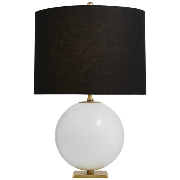 Visual Comfort KS 3014CRE-BL Kate Spade New York Casual Elsie Table Lamp in Cream Reverse Painted Glass with Black Linen Shade
