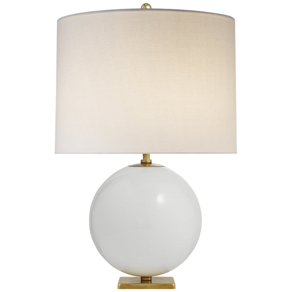 Visual Comfort KS 3014CRE-L Kate Spade New York Casual Elsie Table Lamp in Cream Reverse Painted Glass with Cream Linen Shade