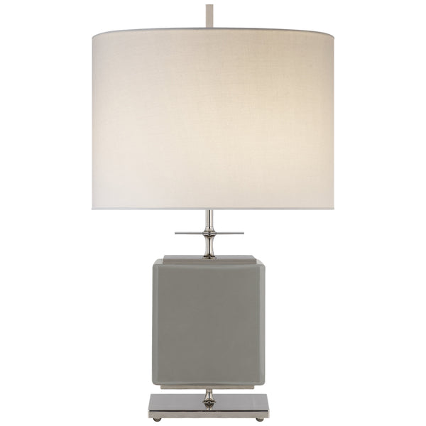 Visual Comfort KS 3043GRY-L Kate Spade New York Modern Beekman Small Table Lamp in Grey Reverse Painted Glass with Cream Linen Shade