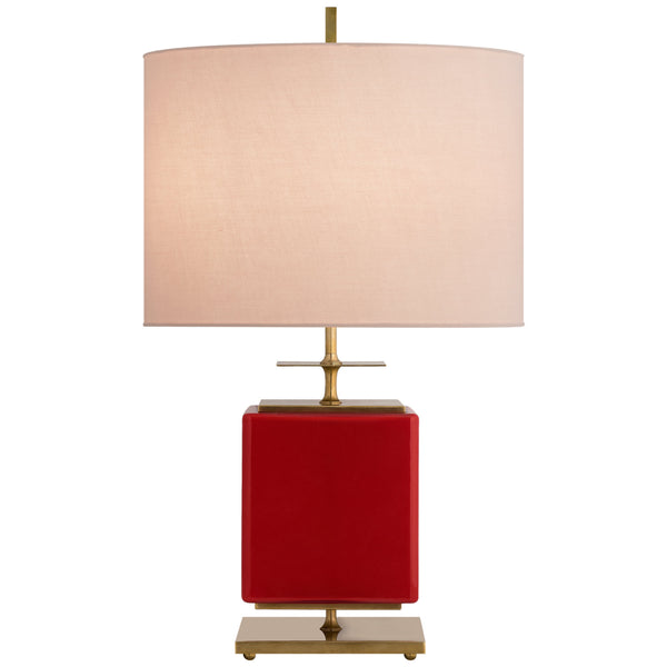 Visual Comfort KS 3043MSH-PK Kate Spade New York Modern Beekman Small Table Lamp in Maraschino Reverse Painted Glass with Pink Linen Shade