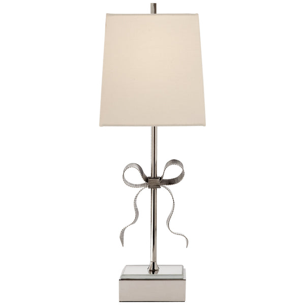 Visual Comfort KS 3111PN-L kate spade new york Ellery Gros-Grain Bow Table Lamp in Polished Nickel