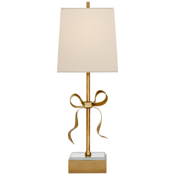 Visual Comfort KS 3111SB-L kate spade new york Ellery Gros-Grain Bow Table Lamp in Soft Brass