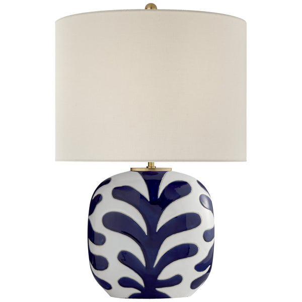 Visual Comfort KS 3618NWT/CB-L kate spade new york Parkwood Medium Table Lamp in New White and Cobalt