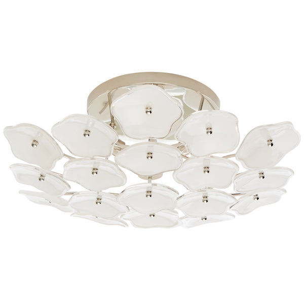 Visual Comfort KS 4065PN-CRE kate spade new york Leighton Medium Flush Mount in Polished Nickel