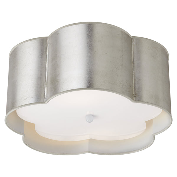 Visual Comfort KS 4117BSL/WHT-FA kate spade new york Bryce Medium Flush Mount in Burnished Silver Leaf