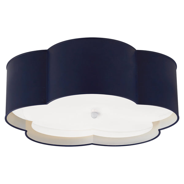 Visual Comfort KS 4118NVY/WHT-FA kate spade new york Bryce Large Flower Flush Mount in French Navy and White