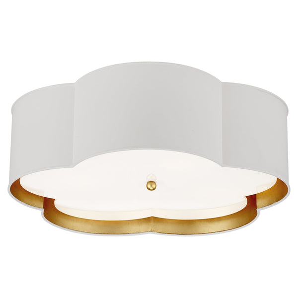 Visual Comfort KS 4118WHT/G-FA kate spade new york Bryce Large Flower Flush Mount in White and Gild