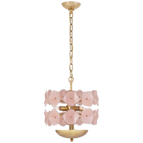 Visual Comfort KS 5065SB-BLS Kate Spade New York Casual Leighton Small Chandelier in Soft Brass with Blush Tinted Glass