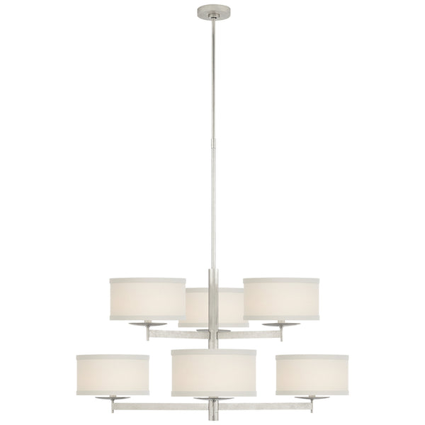 Visual Comfort KS 5070BSL-L kate spade new york Walker Medium Two Tier Chandelier in Burnished Silver Leaf