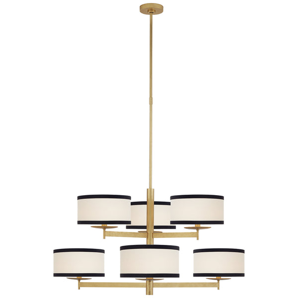 Visual Comfort KS 5070G-L/BL Kate Spade New York Modern Walker Medium Two Tier Chandelier in Gild with Cream Linen Shades with Black Linen Trim
