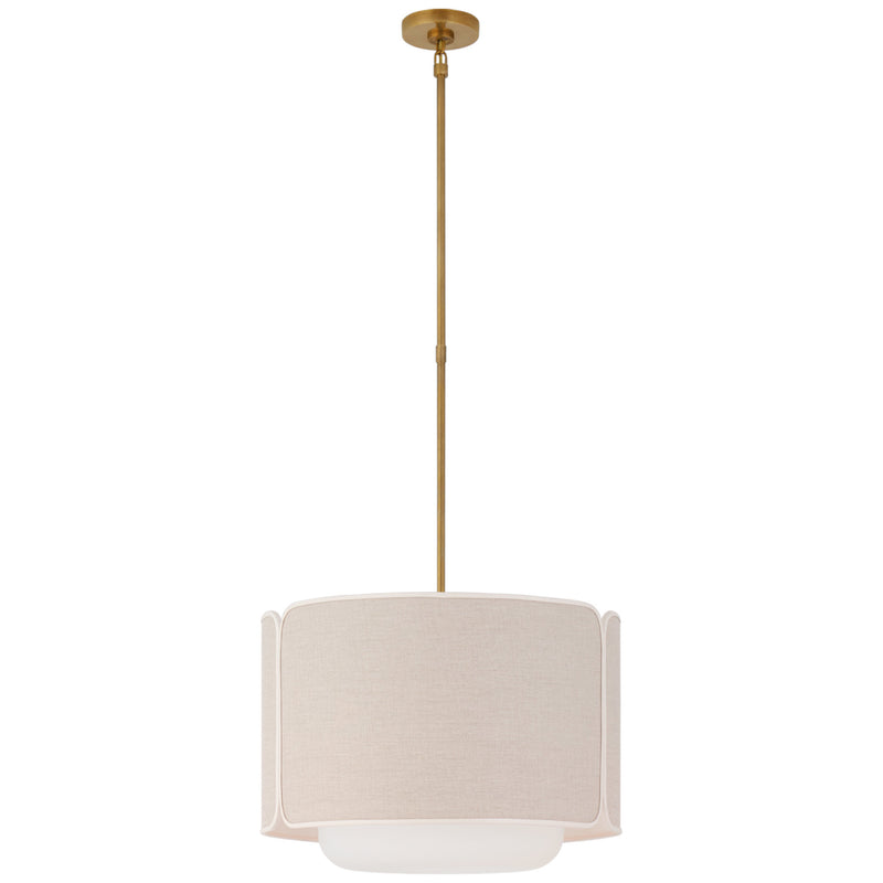 Visual Comfort KS 5081SB/WG-NL/CRE kate spade new york Eyre Medium Hanging Shade in Soft Brass and Soft White Glass