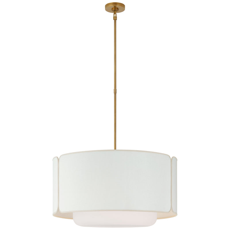Visual Comfort KS 5082SB/WG-L/CRE Kate Spade New York Casual Eyre Large Hanging Shade in Soft Brass and Soft White Glass with Linen with Cream Trimmed Shade
