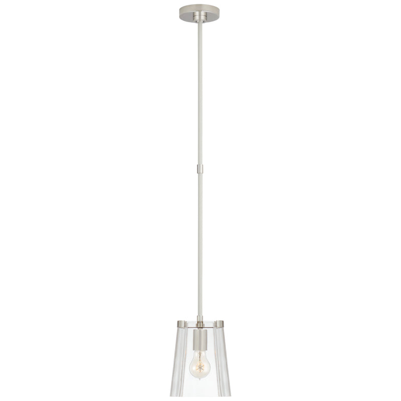 Visual Comfort KS 5125PN/CRE-CG kate spade new york Thoreau Single Pendant in Polished Nickel and Cream
