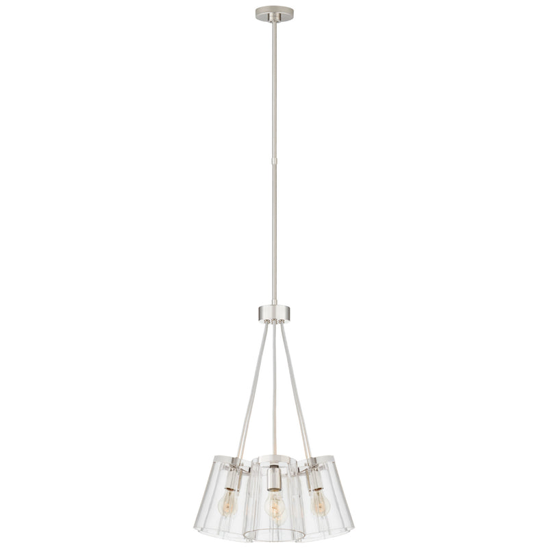 Visual Comfort KS 5126PN/CRE-CG Kate Spade New York Modern Thoreau Small Chandelier in Polished Nickel and Cream with Clear Glass