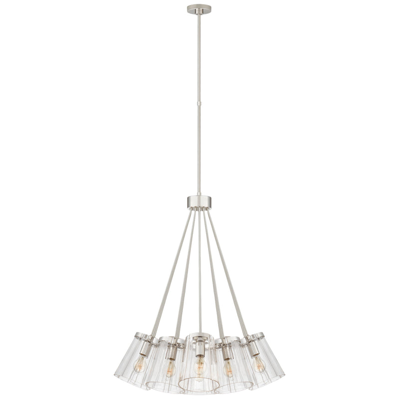 Visual Comfort KS 5127PN/CRE-CG kate spade new york Thoreau Large Chandelier in Polished Nickel and Cream