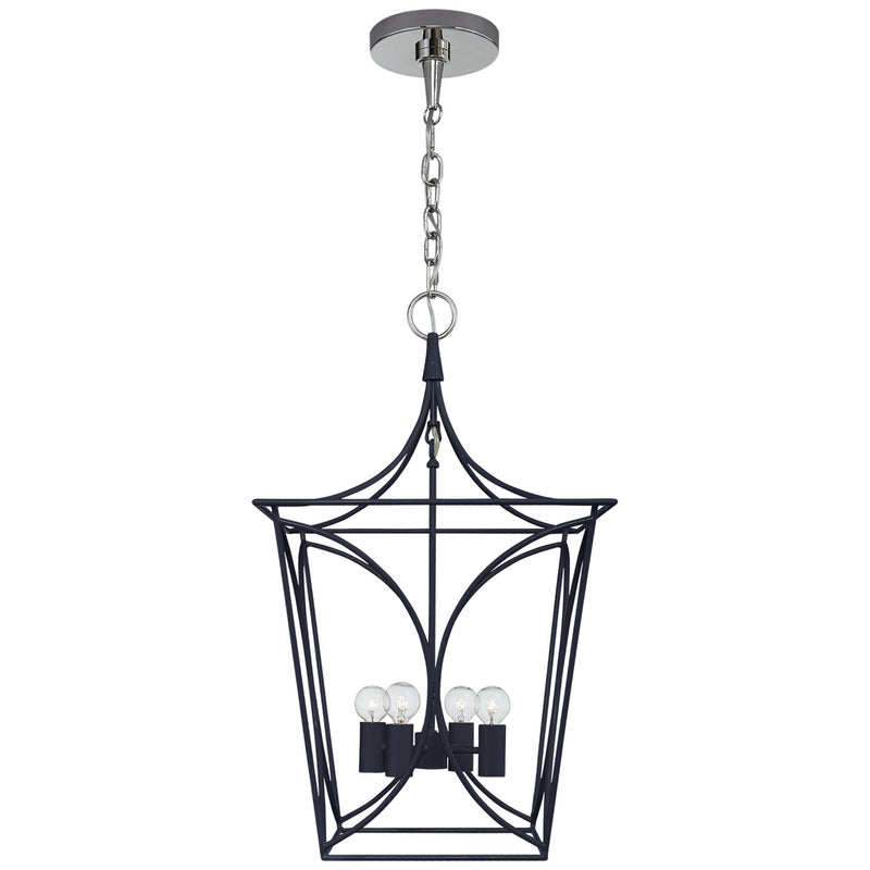 Visual Comfort KS 5144NVY/PN kate spade new york Cavanagh Small Lantern in French Navy and Polished Nickel
