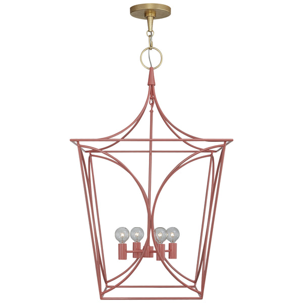 Visual Comfort KS 5145CRL/G kate spade new york Cavanagh Medium Lantern in Coral and Gild