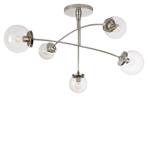 Visual Comfort KS 5403PN-CG kate spade new york Prescott Medium Mobile Chandelier in Polished Nickel