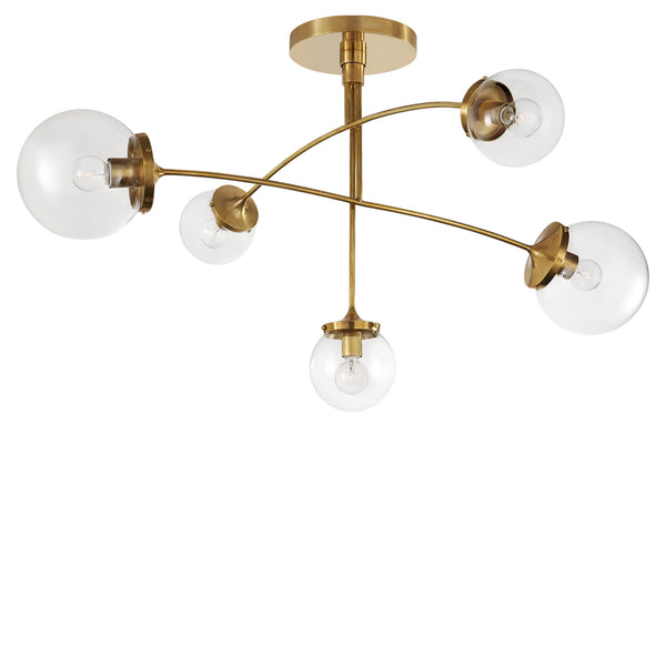 Visual Comfort KS 5403SB-CG kate spade new york Prescott Medium Mobile Chandelier in Soft Brass