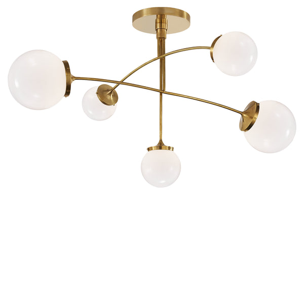Visual Comfort KS 5403SB-WG kate spade new york Prescott Medium Mobile Chandelier in Soft Brass