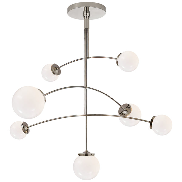 Visual Comfort KS 5404PN-WG kate spade new york Prescott Large Mobile Chandelier in Polished Nickel