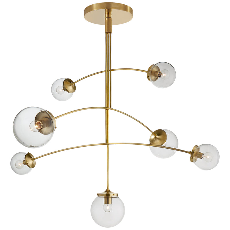 Visual Comfort KS 5404SB-CG kate spade new york Prescott Large Mobile Chandelier in Soft Brass