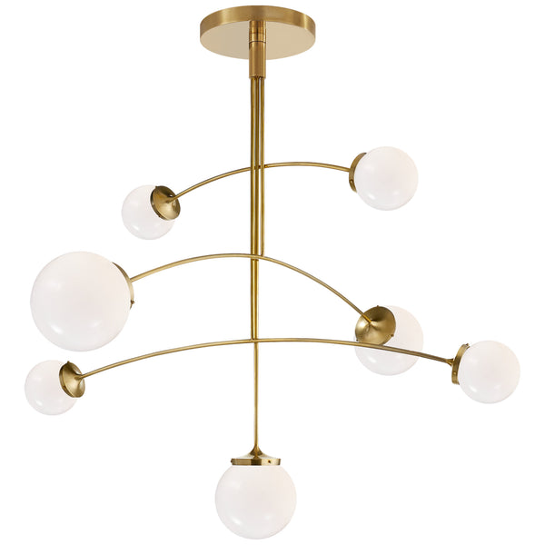Visual Comfort KS 5404SB-WG kate spade new york Prescott Large Mobile Chandelier in Soft Brass