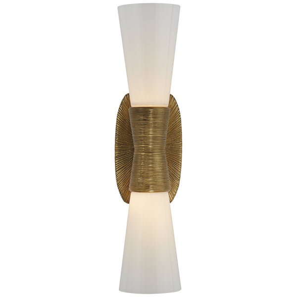 Visual Comfort KW 2047G-WG Kelly Wearstler Utopia Small Double Bath Sconce in Gild
